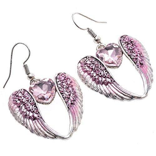 Szxc Jewelry Angel Wings Heart Dangle Earrings for Women