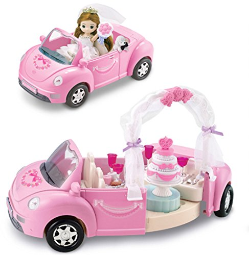 Little Mimi Wedding Car Toy Set, Korean Barbie Doll Wedding Party for Girl Kids