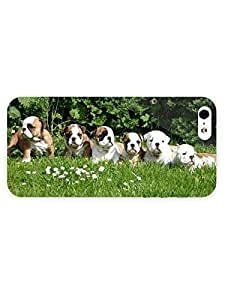 3d Full Wrap Case for iPhone 5/5s Animal English Bulldog Puppies