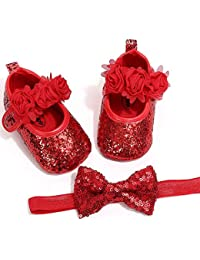Newborn Baby Girl Mary Janes Bow Headband Princess Baptism Toddler Crib Dress Infant Flat Shoes -