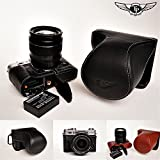 Handmade Genuine real Leather Full Camera Case bag cover for FUJIFILM XT10 with 16-50 mm &18-55mm Compact System camera Bottom opening Version - Black