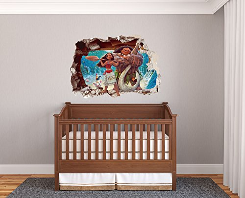 Moana Wall Effect 3D - Wall Decal For Room Boys Girls Unisex ((Wide 34''x23'' Heigh))