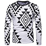 kaifongfu Men Tops,Crew Neck African Indian Style Ethnic Print Long Sleeve Blouse (White,M)