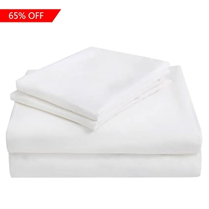 ASHENGVER Microfiber Fitted Bed Sheet Set Extra Soft Bed Sheets Set   White  Queen Fitted Sheet