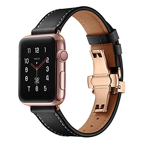 Cywulin Compatible for Apple Watch Band 38mm/40mm 42mm/44mm Genuine Leather Replacement iWatch Bands Loop Wrist Strap Bracelet with Butterfly Buckle for iWatch Series 4/3/2/1 (42mm/44mm, Black)