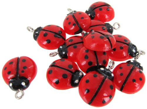 Linpeng Internationa 12-Piece Resin Ladybug Cabochons (Ladybug Resin)