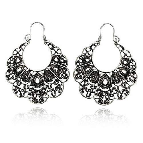 (Waldenn Fashion Vintage Women Geometric Hollow Ear Hoop Earrings Jewelry Gift | Model ERRNGS - 9345 |)