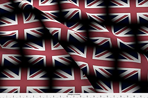 Spoonflower England Fabric - Britain United Kingdom Union Jack British Flag Red - by Peacoquettedesigns Printed on Basic Cotton Ultra Fabric by The Yard (Union Printed)