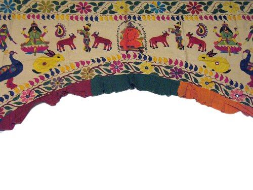 Vintage Artisan Embroidered Toran Huge Gate Valance Door Topper Wall Decor ~ 82 Inch x 62 Inch by NovaHaat