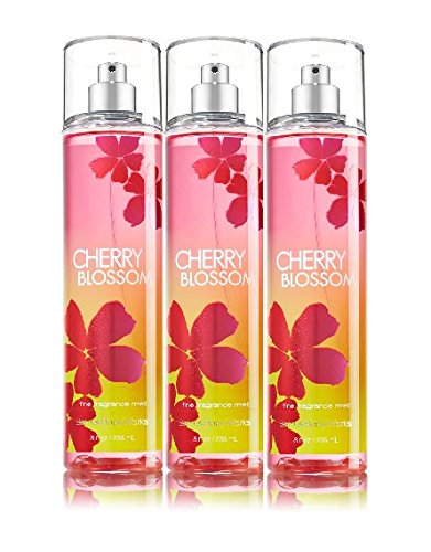 Lot of 3 Bath & Body Works Cherry Blossom Fine Fragrance Mist 8 Fl Oz Each (Cherry Blossom) - Cherry Blossom Solid Perfume