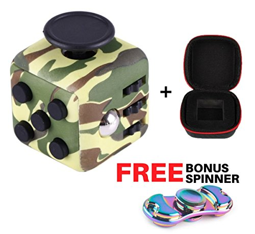 Home Matte (FidgetBox - Anti-anxiety and Stress Relief Fidget Cube + Zipper Case for Creativity, Focus and ADHD (Premium Matte Finish) for Adults and Youth - Perfect for Home, Work, Class, Commute - Camo Green)
