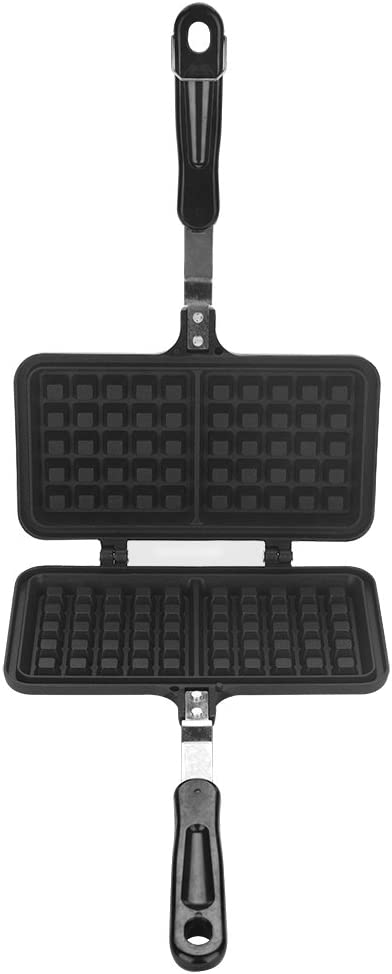 Stovetop Waffle Maker, Dual Head Non-stick Cast Iron Waffle Maker Pan for Belgian Waffles Sandwich Toaster Breakfast, 13.19 x 8.46in