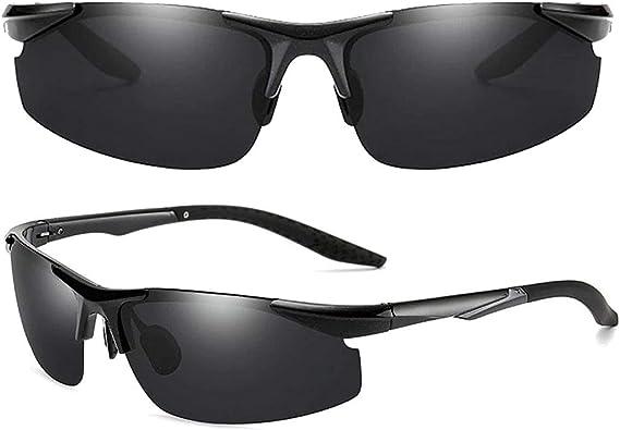 Polarized Men Sunglasses Anti Glare Lenses | New Fashion Cycling Golf Fishing Driving Sport Glasses | Original Aluminum Magnesium Gradient Alloy Retro Grey Frame | Black UV Safe Day Protection Lens