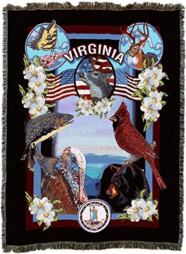 - State Of Virginia Woven Tapestry Throw Blanket With Fringe Cotton, 54