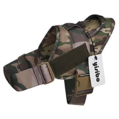 Yisibo Tactical K9 Dog Training Vest Nylon Adjustable Service Police Patrol Molle Harness with Vest Packs Velcro Vest for Large/Small Dog Pet