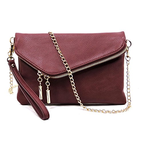 Bagblaze Envelope Foldover Wristlet Clutch Crossbody Bag with Chain Strap