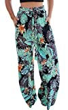 ECOWISH Women's Casual Floral Print Belted Summer Beach High Waist Wide Leg Pants with Pockets Black Medium