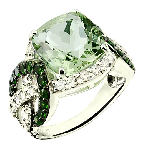 RB Gems Sterling Silver 925 Statement Ring Genuine Gemstone Cushion 12 mm, Rhodium-Plated Finish (7, prasiolite-Quartz)