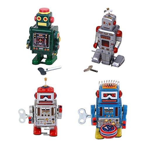 Jili Online 4X Old-fashioned Wind Up Walking Robots Mechanical Clockwork Tin Toys Gifts ()