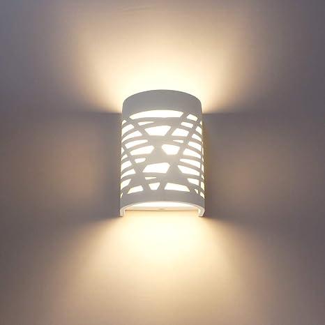 Applique da Parete Interno Moderno 7W LED Lampada da Parete Bianco Intonaco  Lampade da Muro Decorativa per Camera da letto, Soggiorno, Corridoio, ...