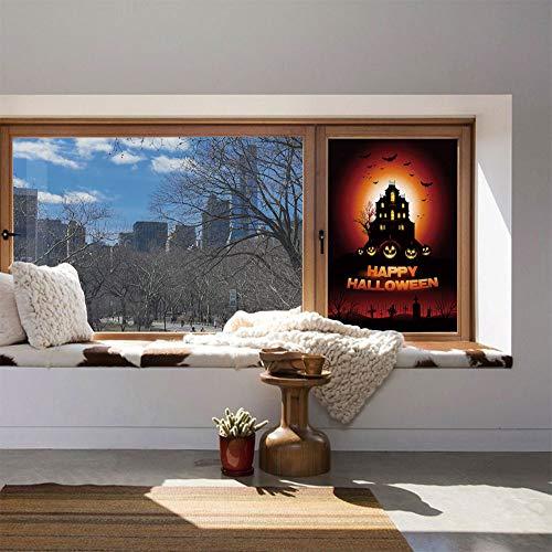 YOLIYANA Ethylene Film Printing Design Window Film,Halloween,Suitable for Kitchen, Bedroom, Living Room,Happy Halloween Haunted House Flying Bats Scary Looking,24''x36'' -