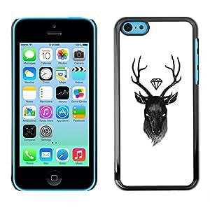 Deer diamante blanco Antlers Negro- Metal de aluminio y de plástico duro Caja del teléfono - Negro - iPhone 5C