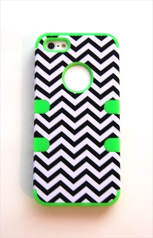 TCD for Apple iPhone 5C Hybrid [GREEN] Chevron Design [HIGH IMPACT] Case Cover Multiple Layers [Hard Outter Layer, Soft Inner Layer] Includes [FREE SCREEN PROTECTOR AND STYLUS PEN]