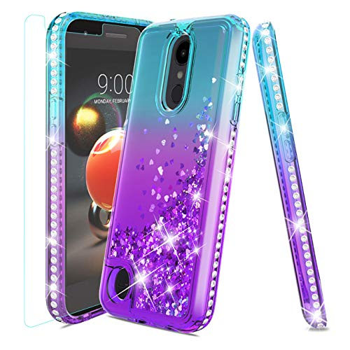 LG Aristo 2 Case,LG Tribute Dynasty Case,LG Aristo 3 Case,LG Rebel 4/LG Phoenix 4/LG Aristo 2 Plus/Rebel 3 Case w/Tempered Glass Screen Protector,Glitter Quicksand Diamond Shockproof Case,Teal/Purple (Phone Case For Lg 3)