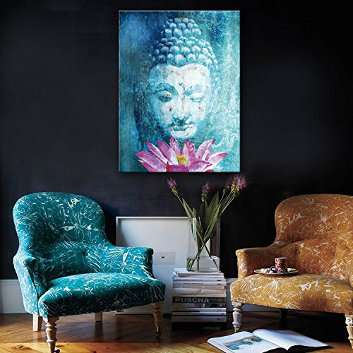 Stretched Canvas Art Buddha And Lotus Decoration Painting One Pcs