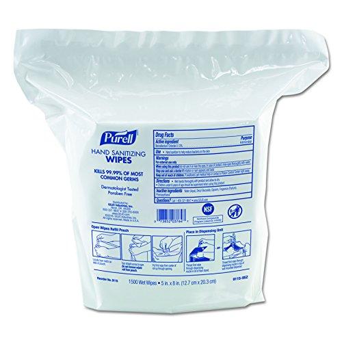 PURELL GOJ 911502CT Premoistened Hand Sanitizing Wipes, Nonwoven Fiber, 5'' x 8'', 1500 per Pack, White (Pack of 2) by Purell