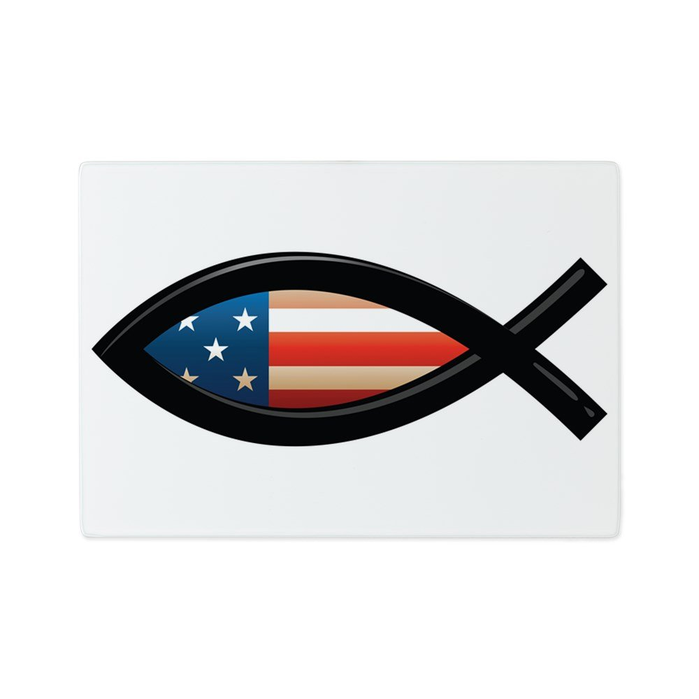 Glass Cutting Board US Christian Fish Ichthys