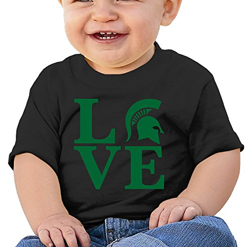 Price comparison product image Boss-Seller Michigan Love State University Short-Sleeve Infants Round Collar For 6-24 Months Toddler Size 18 Months Black