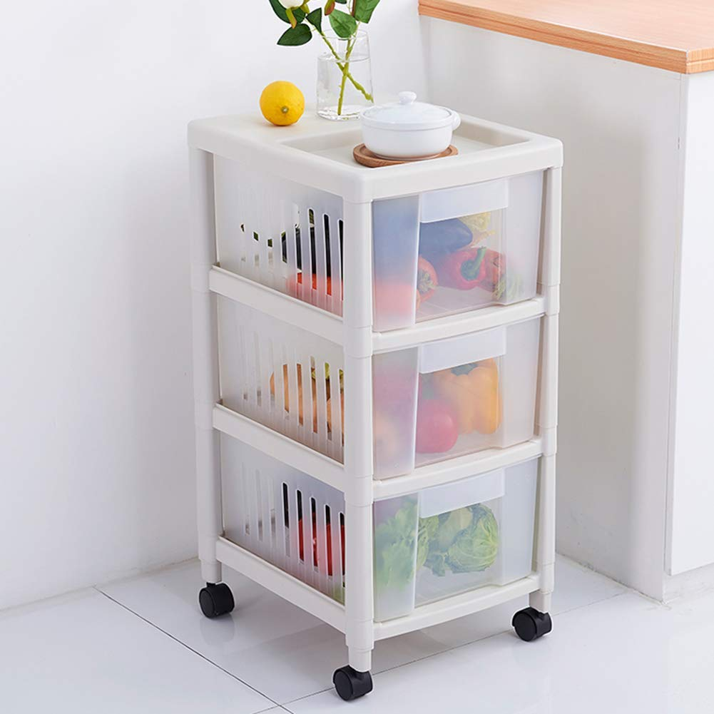 3-Tier Storage Trolleys Rolling with Drawers, Kitchen Bedroom Locker cart, Multi-Functional Utility Storage Cabinet with Wheels