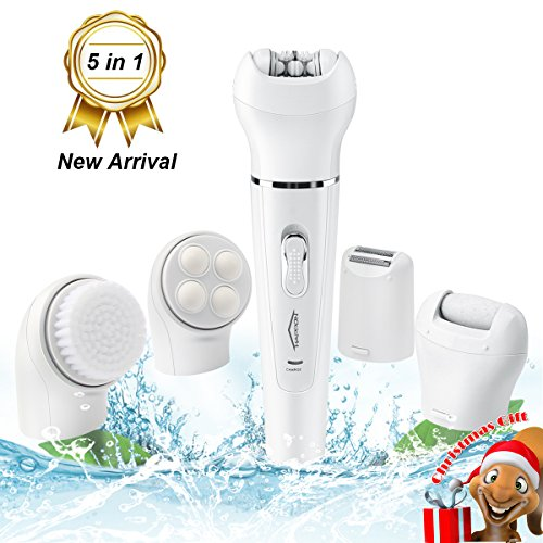 Christmas Gift Electric Hair Removal Epilator, 5 in1 Cordless Rechargeable Face Cleansing Brush Skin Massager Ladies Shaver Women Hair Removal Tweezers Bikini Trimmer Pedicure Foot Care Callus Remover