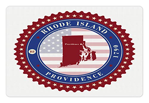 Ambesonne Rhode Island Pet Mat for Food and Water, Circular Stamped Look with Stars Providence 1970 Text, Rectangle Non-Slip Rubber Mat for Dogs and Cats, Ruby White and Night Blue (Burmese Ruby Star)