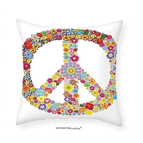 VROSELV Custom Cotton Linen Pillowcase Groovy Decorations Collection Floral Peace Sign Summer Spring Blooms Love Happiness Themed Illustration Print Bedroom Living Room Dorm Multi 22