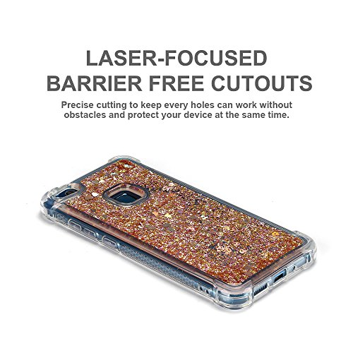 Funda Huawei P10 Lite, Caselover 3D Bling Silicona TPU Arena Movediza Lentejuelas Carcasa para Huawei P10 Lite Glitter Líquido Brillar Cristal Sparkle Protección Caso Suave Transparente Claro Bumper C Oro