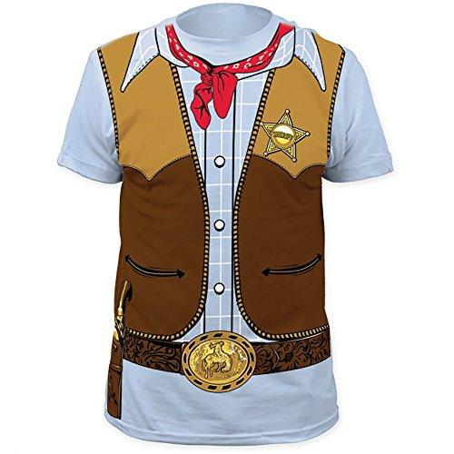 COWBOY Wild Western Sheriff Men's Costume T-Shirt - Shirt Sheriff Costume