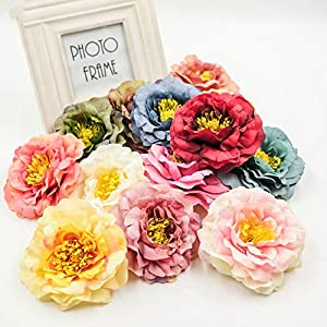 XGM GOU 10PCS 10CM Silk Peony Flower Heads Decorative Scrapbooking Artificial Flower for Home Wedding Birthday Party Decoration Supplies 71