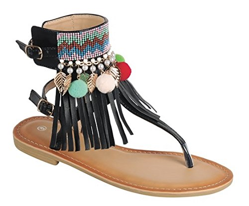 - BDshoes Prime Clearance Sale Strappy Ankle Strap Tassel Wide Slip On Cute Fun Cool Quality Bohemia Walking Wedding Summer 2018 Sandalias Plateadas De Boda Sandal Flip Flop for Women Girl (8, Black)
