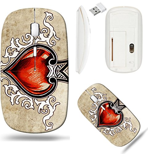 Liili Wireless Mouse White Base Travel 2.4G Wireless Mice with USB Receiver, Click with 1000 DPI for notebook, pc, laptop, computer, mac book Valentine Day Sketch of tattoo art tribal design heart Pho (Designs Tribal Tattoo Heart)