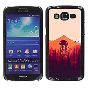 CASEMAX Slim Hard Case Cover Armor Shell FOR Samsung Galaxy Grand 2- MINIMALIST ORANGE FORREST