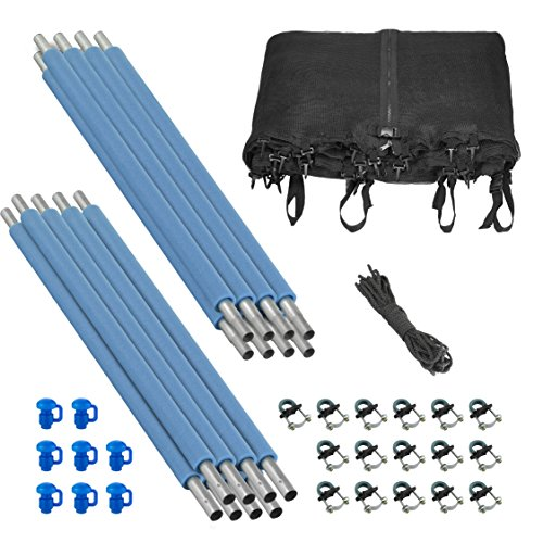 Upper Bounce Trampoline Enclosure Set to fit 14 FT Round Frames for 4 or 8 W Shaped Legs  Set Includes Net Poles Hardware Only