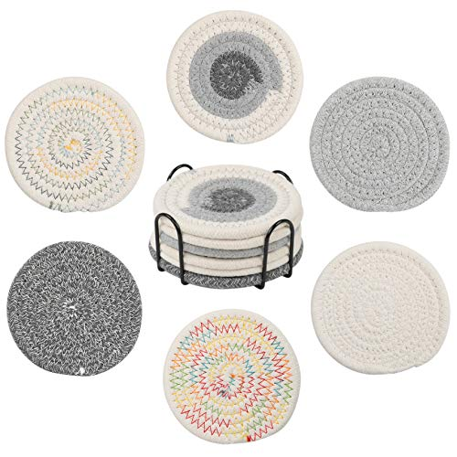 Sayopin 6PCS Premium Coaster for Drinks Absorbent, Handmade Braided Heat-Resistant Coasters with Metal Holder Storage, 4…