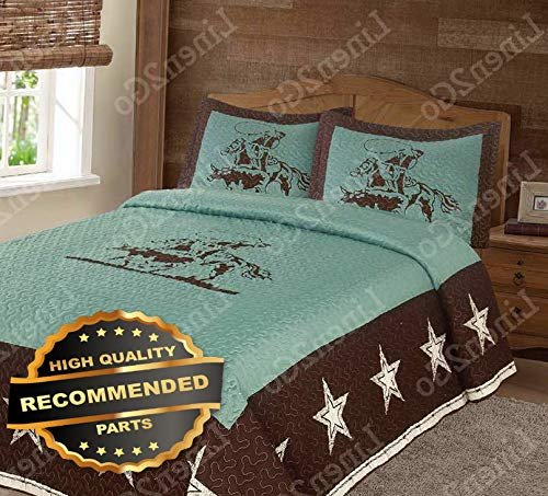 Ellyly Texas Rustic Rodeo Cowboy Star Western Quilt Bedspread Comforter Shams 3Pc Set   Style BEDSPR-19202392   Full/Queen for $<!--$155.99-->