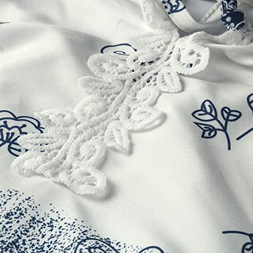 Col La LaChe Tops Plus Blouse Dentelle V Manches Blanc Longues Femmes Bandage Lolittas Imprim Taille 5zqfx14ww