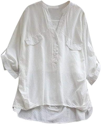 Camisa Vintage de Manga Larga para Mujer, Cuello en V Blanco XXL: Amazon.es: Ropa y accesorios