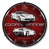 Lighted C7 Corvette Artic White Clock