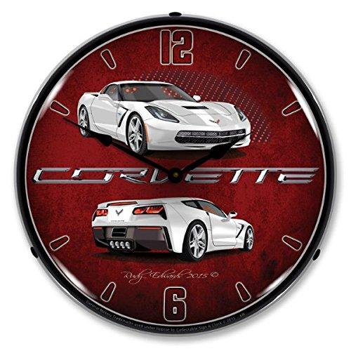 Lighted C7 Corvette Artic White Clock For Sale