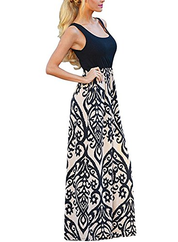 Coutgo Womens Casual Scoop Neck Summer Boho Long Maxi Dress (XL, Black)